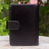 Leather passport holder, 'Deep Black Voyages' - Leather passport holder