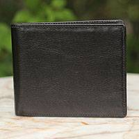 Men's leather wallet, 'Explorer in Black' - Men's leather wallet
