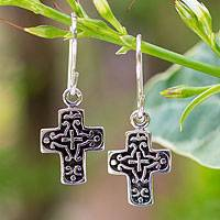 Sterling silver dangle earrings, 'Eternal Cross'