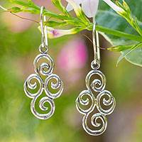 Sterling silver dangle earrings, 'Billowing Clouds' - Sterling silver dangle earrings