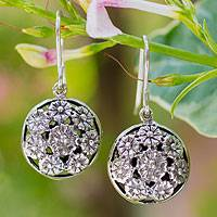 Sterling silver flower earrings, 'Summer Nosegay' - Floral Sterling Silver Dangle Earrings from Thailand