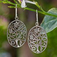Sterling silver dangle earrings, 'Flowering Tree'