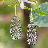 Sterling silver dangle earrings, 'Nature's Symmetry' - Sterling silver dangle earrings