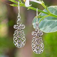 Sterling silver dangle earrings, 'Thai Pineapple' - Sterling silver dangle earrings