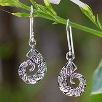 Sterling silver dangle earrings, 'Living Leaf' - Hand Crafted Sterling Silver Dangle Earrings from Thailand