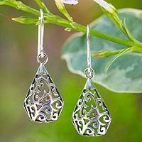Sterling silver dangle earrings Rain Forest Song (Thailand)