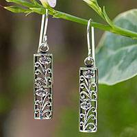 Sterling silver dangle earrings, 'Spring Blossoms' - Fair Trade Floral Sterling Silver Dangle Earrings