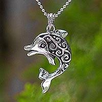 Sterling silver pendant necklace, Pretty Dolphin