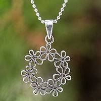 Featured review for Sterling silver flower necklace, Floral Tiara