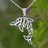 Sterling silver pendant necklace, 'Tiger Dolphin' - Sterling silver pendant necklace