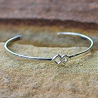 Sterling silver cuff bracelet, 'Hold My Hand' - Modern Sterling Silver Cuff Bracelet