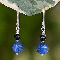 Kyanite and agate dangle earrings, 'Blue Night' - Kyanite and agate dangle earrings