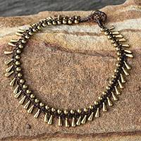 Brass beaded anklet, 'Sweet Charm' - Handmade Hill Tribe Brass Beaded Anklet