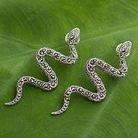 Marcasite drop earrings, 'Snakes in Synchrony' - Marcasite drop earrings