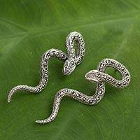 Marcasite post earrings, 'Sinuous Serpents'