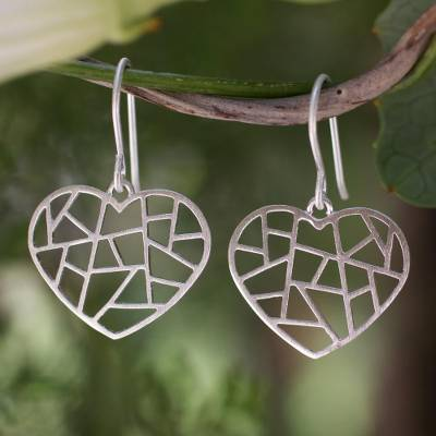 Sterling silver heart earrings, 'Paths of Love' - Sterling silver heart earrings