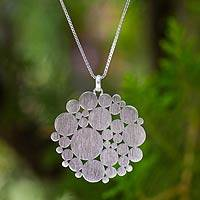 Sterling silver pendant necklace, 'In the World' - Sterling silver pendant necklace