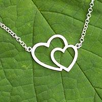 Sterling silver heart necklace, 'Love Unites' - Sterling silver heart necklace