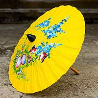 Saa paper parasol, 'Sunshine Garden' - Saa Paper and Bamboo Parasol in Sunny Yellow
