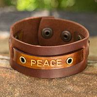 Men's leather wristband bracelet, 'Peace' - Men's leather wristband bracelet