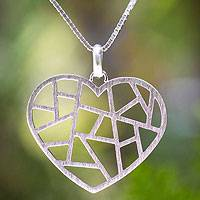 Sterling silver heart pendant, 'Paths of Love' - Sterling silver heart pendant