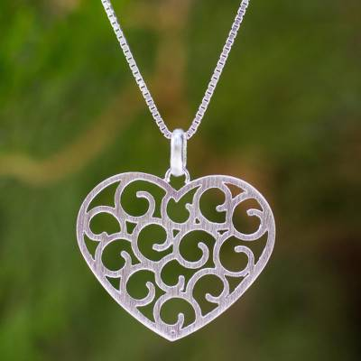 Sterling silver heart necklace, 'Thai Love' - Sterling silver heart necklace