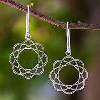 Sterling silver flower earrings, Blossoming Atoms