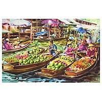 'Impressive Damnoen Saduak Floating Market' - Thai Floating Market Signed Watercolor Painting