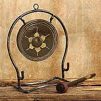 Iron and brass gong, 'Thai Harmony' (large) - Iron and brass gong (Large)