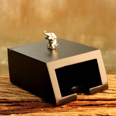 Wood and pewter business card holder, 'Playful Elephant' - Wood and pewter business card holder