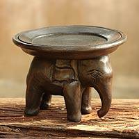 Wood tray, 'Majestic Elephant' - Wood tray
