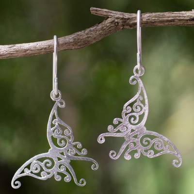 Sterling silver dangle earrings, 'Thai Chrysalis' - Handmade Butterfly Earrings Sterling Silver Jewelry