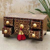 Wood jewelry box, 'Princess Coffer' - Wood jewelry box