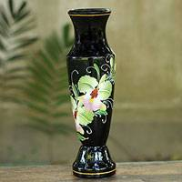 Lacquered wood decorative vase, 'Precious Cattleya Orchid' - Thai Lacquered Wood Decorative Vase Handpainted Orchids