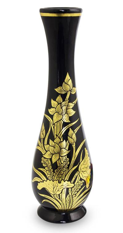 Lacquered decorative wood vase, 'Golden Lotus' - Handcrafted Thai Lacquered Vase Gold Leaf Lotus