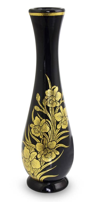 Lacquered decorative wood vase, 'Golden Orchid' - Hand Crafted Thai Lacquered Vase Gold Leaf Orchid