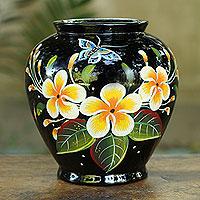 Lacquered wood decorative vase, 'Oriental Plumeria'