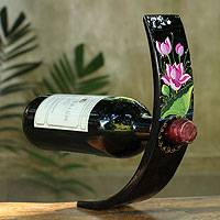 Lacquered wood wine bottle holder, 'Pink Lotus' - Black Lacquered Wood Wine Bottle Holder