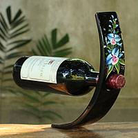 Lacquered wood wine bottle holder, 'Azure Orchid' - Black Lacquered Wood Wine Bottle Holder