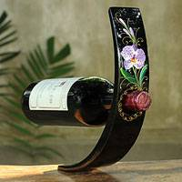 Lacquered wood wine bottle holder, 'Vanda Orchid' - Handpainted Purple Orchid Wine Bottle Holder