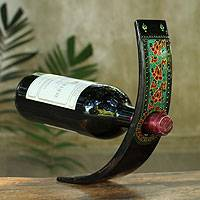 Lacquered wood wine bottle holder, 'Thai Elegance' - Black Lacquered Wood Wine Bottle Holder