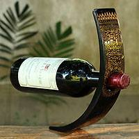 Lacquered wood wine bottle holder, 'Golden Vines' - Black Lacquered Wood Wine Bottle Holder