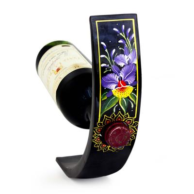 Handcrafted Floral Wood Wine Bottle Holder