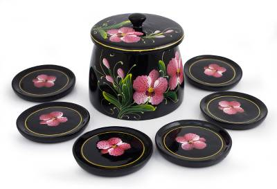 Handcrafted Thai Lacquered Wood Coaster Set for 6 Floral Box