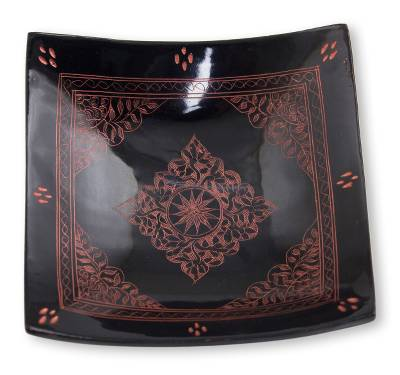 Hand Crafted Thai Lacquered Wood Square Decorative Bowl