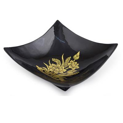 Fair Trade Thai Lacquered Wood Decorative Bowl