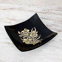 Lacquered wood decorative bowl, 'Golden Thai Orchids' (Thailand)