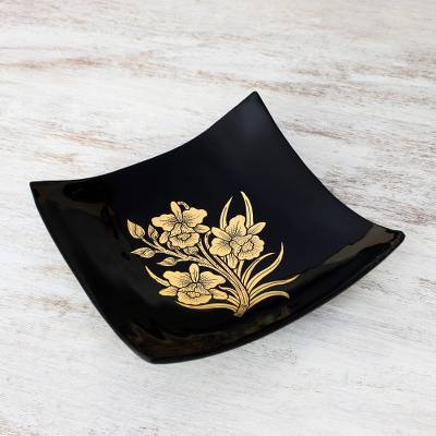 Lacquered wood decorative bowl, 'Golden Thai Orchids' - Thai Lacquer Ware Artisan Crafted Decorative Bowl Gold Leaf