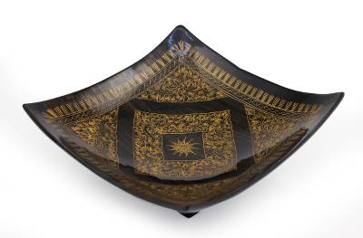 Hand Made Thai Lacquered Wood Bowl Black and Yellow