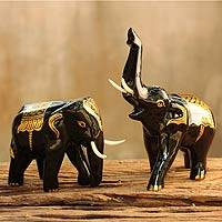 Lacquered wood figurines, 'Golden Thai Elephants' - Artisan Crafted Thai Lacquered 2 Wood Elephants Gold Leaf